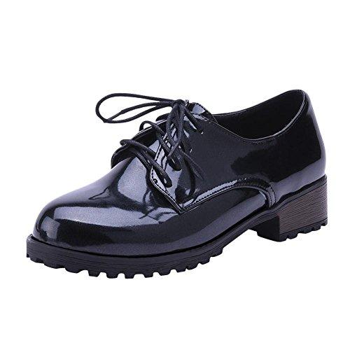 Mee Shoes Damen modern bequem populär runde Niedrig dicker Absatz mit Schnürsenkel Plateau Geschlossen Schnürhalbschuhe Schwarz