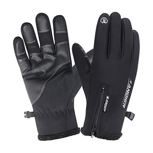 Lanyi Winter Waterproof Outdoor Gloves for Men Women Touchscreen Windproof Cycling Driving Climbing Thermal Gloves Warm Liner (Black, Large)