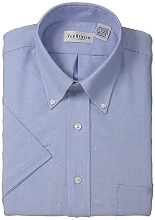 Van Heusen Men's Short-Sleeve Oxford Dress Shirt -Blue- 14.5
