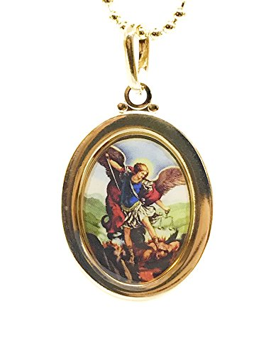 LESLIE BOULES Archangel Michael Necklace 18 Inches Gold Filled Medalla San Miguel - Angel Gold Medal