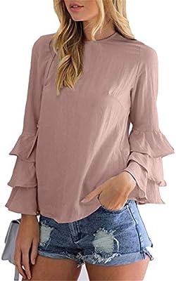 RBDSE Camisa Moda Casual Streetwear Blusa Mujer Sólido O Cuello Manga Larga Camisetas de Manga de Mariposa, M, Café: Amazon.es: Deportes y aire libre