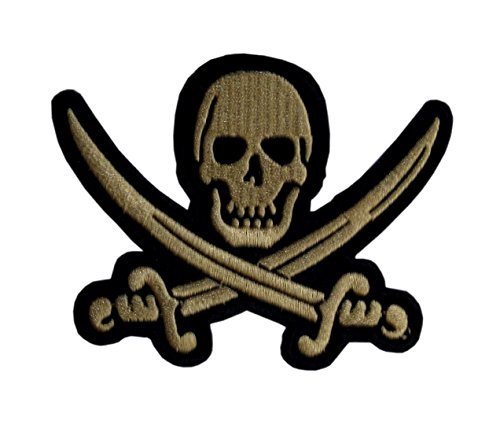 Jolly Roger Patch Iron on Sew on Pirate Flag Skull & Bones 3.94 Inch / 3.35 Inch
