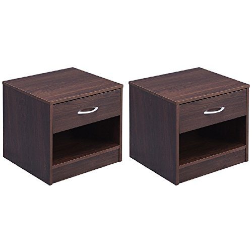 End Storage Table Wood Chest Cabinet Nightstand 2 Pcs (2 Drawer Set Entertainment Center)