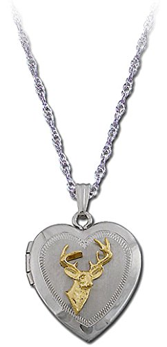 Landstroms Sterling Silver Heart Locket with Deer with 10k Gold Deer's Head, 18