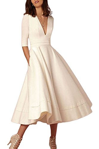 YMING Elegant Deep V-Neck 1/2 Sleeve Prom Evening Party Swing Dresses White S Vintage Dress