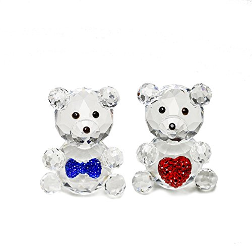 H&D Crystal Collection Cute Bear Figurines Paperweight,pack of 2 -