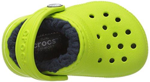crocs Unisex-Kinder Classic Lined Clog Kids Grün (Volt Green/navy)