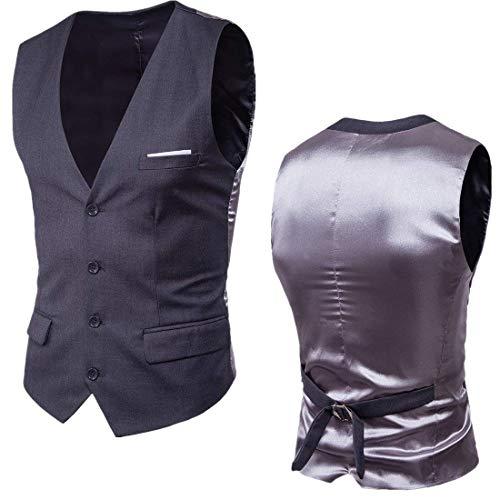 Slim Size Vest Formale Patchwork Grau Abito Uomo Da Vestaglia Nuovo Fit Giovane Yasminey Plus Dunkel FBcPRU