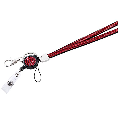 Soleebee 5 in 1 Leather ID Badge Lanyard, Bling 14 Facets Premium SS6 Finest 1000pcs+ Crystal Diamond 31.5'' Lanyard Neck Strap with Retractable Badge Reel Breakaway Safety Clasp - 1 Pack (Red)