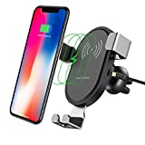 Wireless Charger Car Mount Mobile Phone Holder Adsorption Tech Certificated Fast Charging Qi Low Temperature 360°Rotation Air Vent Mount Car Cradle for iPhone X/8/8 Plus Samsung Galaxy S8/S8 Plus/S7