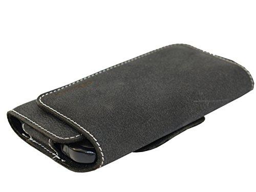 OrLine Echt Leder-Schutzhülle für Apple Iphone 7 4,7 Zoll mit Magnetverschluss Halterung an Gürtel mit Klammer und Schlaufe Case Handytasche Hülle Echt ledertasche Tasche Horizontal in der Farbe schwa
