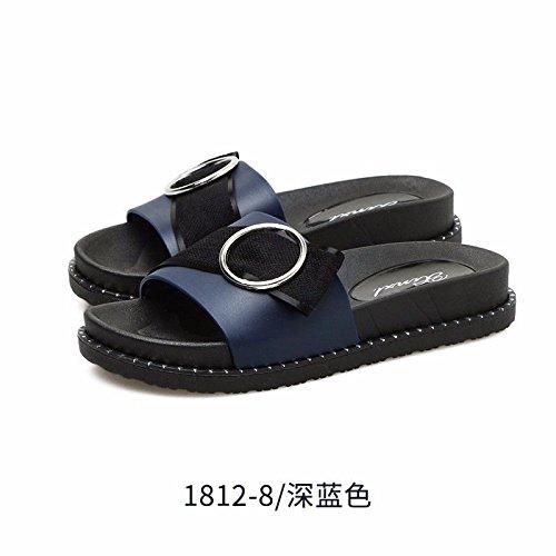 Schaltflächen Moda Zapatillas Desgaste de Mujeres de Nuevos enfriamiento con Plano Azul Zapatillas Productos Fondo Moda española Zapatillas Verano de LIUXINDA Semi XZ de de TwZqaTP