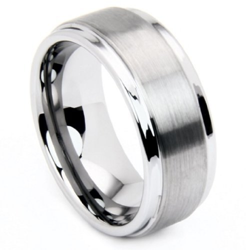 8mm Comfort Fit Tungsten Ring with Matte Center, Size 15 by The Men's Jewelry Store (Unisex Jewelry)