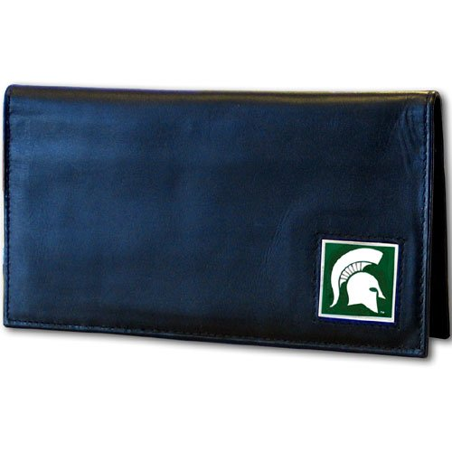 (Siskiyou NCAA Michigan State Spartans Leather Checkbook Cover, One Size, Brushed Metal)