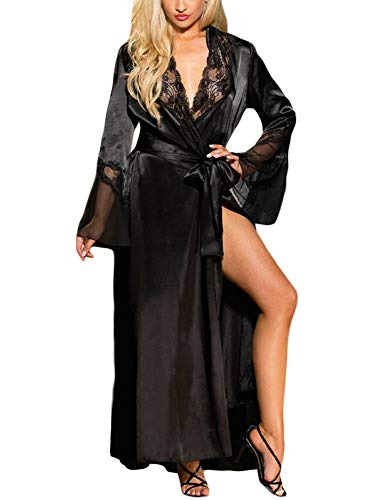 Women Nightgown Lingerie Mesh Long Sleeve Lace Valentine Robe with Thong Gown Black L ()