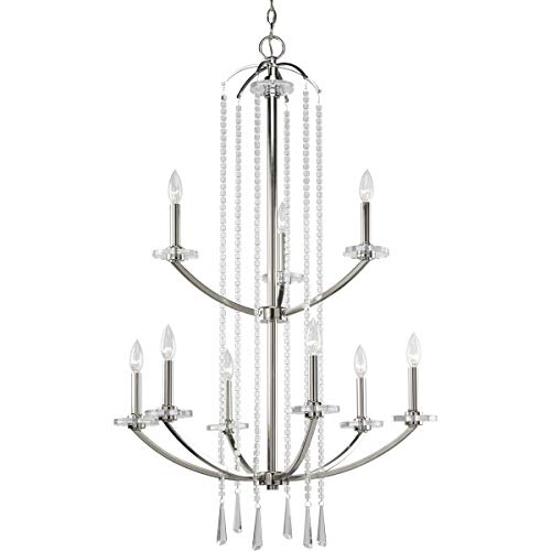 "Progress Lighting P4538-104 9-Light, 2 Tier Chandelier Featuring Drops of Opulent Beads That Cascade Down Sleeve, 163"" x 28"" x 39.625"", Grey"