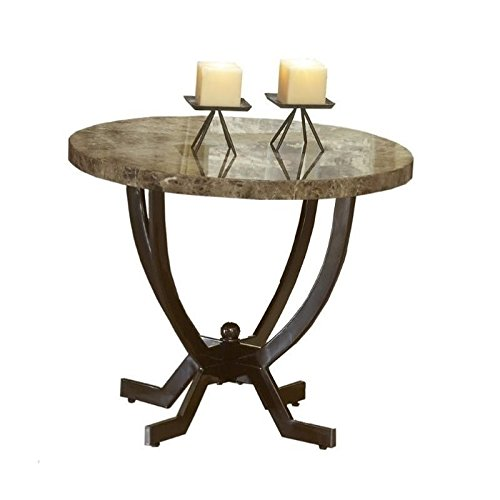 Hawthorne Collections Faux Marble Top End Table in Matte Espresso (Marble Espresso Top)