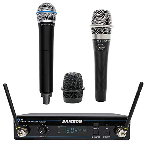 - SAMSON Concert 99 Wireless Handheld 80-Channel UHF Microphone Mic + Blue Mic