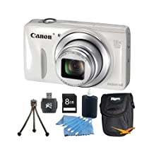 Canon PowerShot SX600 HS 16.1MP 18x Zoom 3-inch LCD White Kit