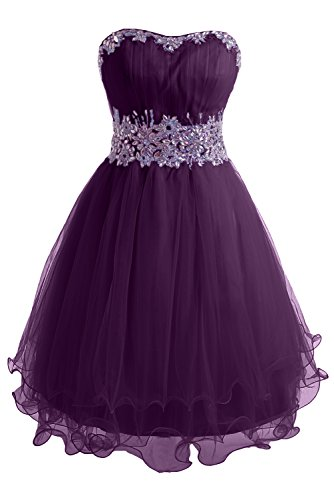 Grape Tuell Gorgeous A Mini Festkleid Organza Traegerlos Abendkleid Ballkleid Linie Bride Zaertlich TTPq7R