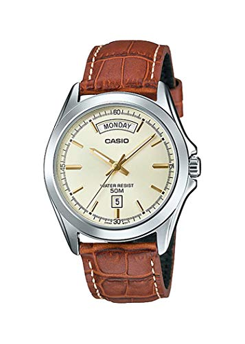 Casio MTP1370L-9AV Men s Standard Classic Leather Band Gold Dial Day Date Watch