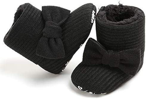M:6-12 Months//4.72, Black LIVEBOX Baby Premium Soft Sole Bow Anti-Slip Mid Calf Warm Winter Infant Prewalker Toddler Snow Boots
