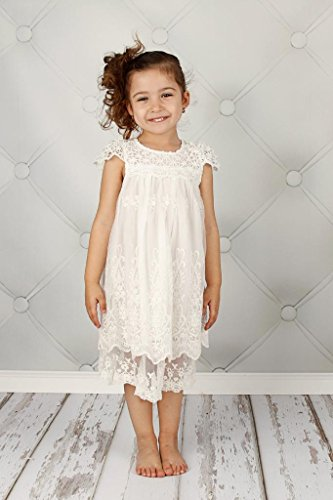 Bow Dream Vintage Rustic Baptism Lace Flower Girl's Dress Off White 5 by Bow Dream (Image #4)