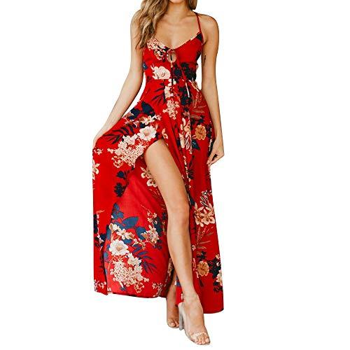 Tanhangguan Women Floral Print Summer Dresses Back Criss-Cross Strap High Waist Casual Split Long Maxi Dress Red