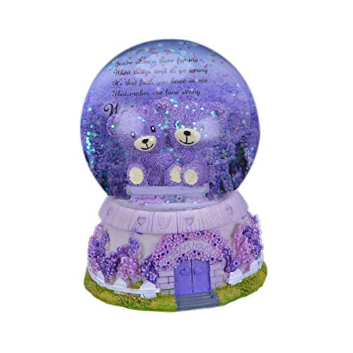 LKXHarleya Musical Lighted Christmas Bear Snow Globe Battery Operated Electronic Automatic Snowfall Water Glitter Snow Globe