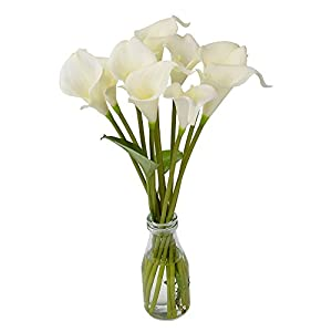 ATPWONZ 10pcs Calla Lily Artificial Flowers Wedding Bridal Bouquet Latex Real Touch Home Party Decoration (Pale Yellow) 4