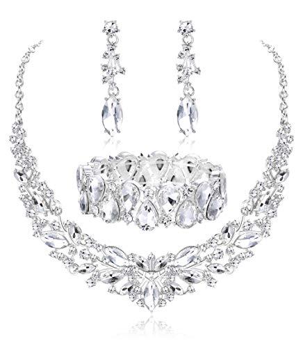 (Fiasaso Crystal Bridal Jewelry Set for Women Rhinestone Necklace Earrings Bracelet Wedding Bridesmaid White )