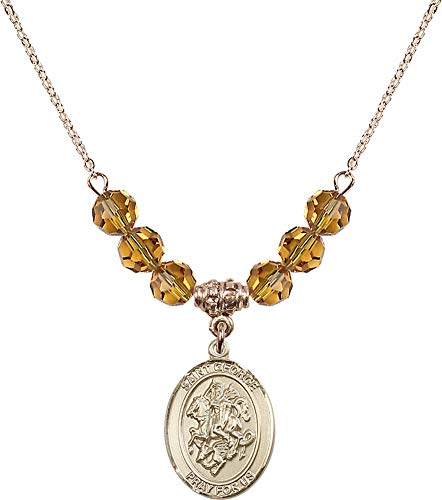 Bonyak Jewelry 18 Inch Hamilton Gold Plated Necklace w/ 6mm Yellow November Birth Month Stone Beads and Saint George ()