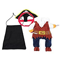 Tinksky Pet Cat Dog Clothes Costume Dress Pirate Suit Apparel with Hat Size L
