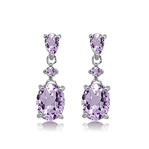 - Sterling Silver Amethyst Oval Three Stone Dangling Stud Earrings