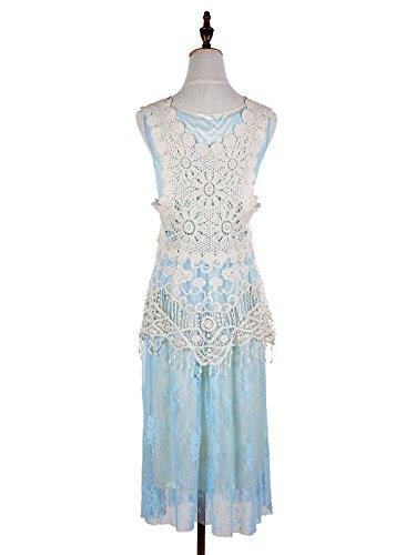 fiore pezzi Gastby Azzurro 1920 a cover all'uncinetto del vestito up maglia increspato d'epoca Kaci due pizzi Anna donne a maniche qw1g1S0