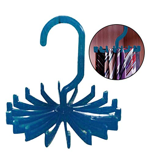 Tie Fairy Package (Hot Sale!DEESEE(TM)Rotating Tie Rack Adjustable Tie Hanger Holds 20 Neck Ties Tie Organizer for Men (Blue))