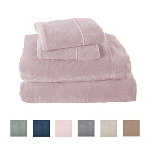 Great Bay Home Extra Soft Cozy Velvet Plush Sheet Set. Deluxe Bed Sheets with Deep Pockets. Velvet Luxe Collection (Queen, Blush Pink) (Soft Bedding Cozy)