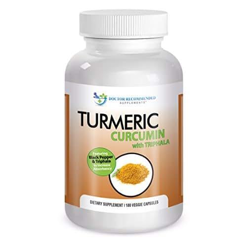 Turmeric Curcumin-2250mg/d-180 Veg Caps-95% Curcuminoids w/Black Pepper Extract (Piperine) - 750mg capsules - 100% ORGANIC Turmeric - with Triphala