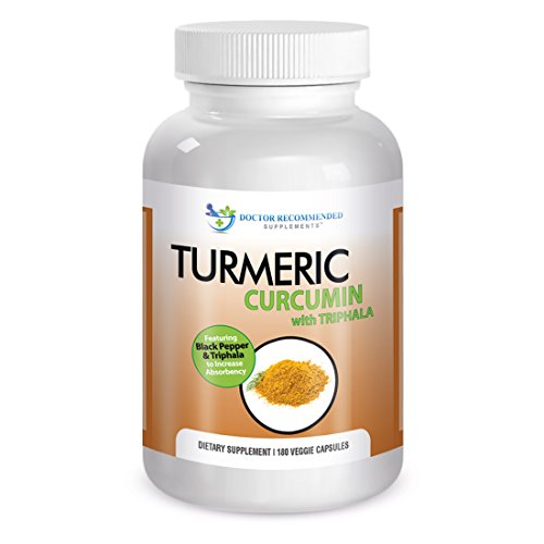 Turmeric Curcumin-2250mg/d-180 Veg Caps-95% Curcuminoids w/Black Pepper Extract (Piperine) - 750mg capsules - 100% ORGANIC Turmeric - with Triphala (Caps Formula Herbal Support Veg)