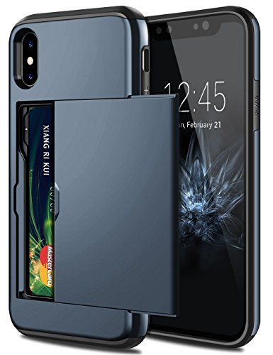 SAMONPOW iPhone X Case, iPhone 10 Case,Hybrid iPhone X Wallet Case Card Holder Shell Heavy Duty Protection Shockproof Defender Anti-Scratch Soft Rubber Bumper Cover Case for iPhone X - Dark Blue (Dark Rubber Blue Rubber)
