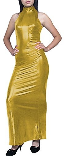 Howriis abito metallizzato da donna maniche lucido Gold Maxi senza FZwqF6B