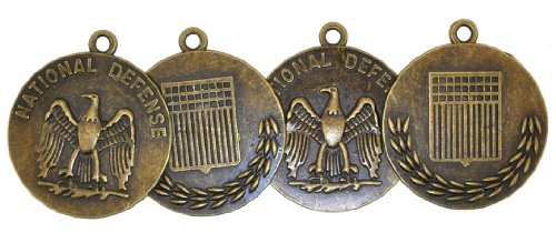 Hinky Imports Wholesale Lot of 4 National Defense Military Medal Pendants with Antique Brass Finish