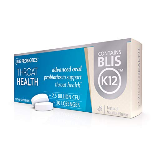 BLIS ThroatHealth Oral Probiotics, Most Potent BLIS K12 Probiotic Formula Available, 2.5 Billion CFU, Throat Immunity Support and Oral Health for Adults and Kids, Sugar-Free Lozenges, 30 Day Supply