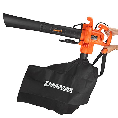 Händewerk Electric Corded Leaf Blower Vacuum and Mulcher with 210 MPH Air Speed 12 AMP Motor Variable Speed control Mulch Bag Included (Grass Vacuum)
