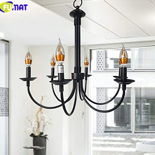 FUMAT Candle Chandeliers Pendant Lamps 6 Arms 23.5 Inch Trans Globe Lighting LED E26 Kitchen Hanging Lights Fixtures
