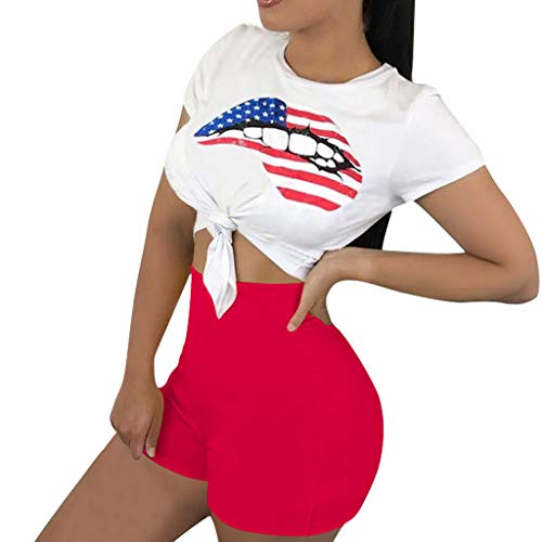 FengGa Women's Two Piece Outfits American Flag Print Sports Pants Set Two-Piece Casual Suits Shorts Set Outfit Red ()