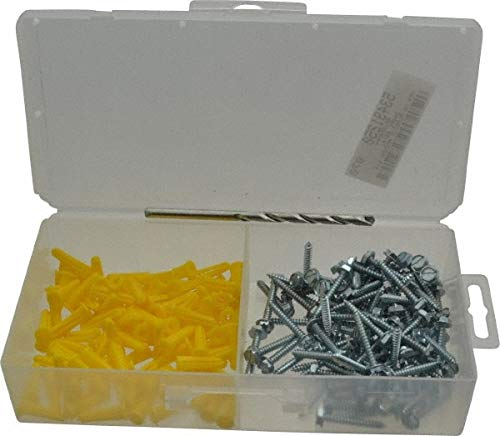 200 Piece, 6 to 8 Screw, Plastic & Steel Hex Drive Anchor Assortment pack of 3