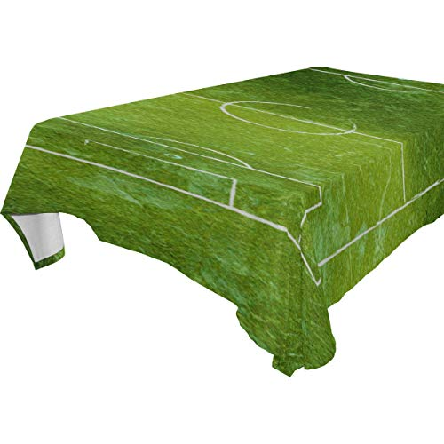 THKDSC Soccer Field Football Field 100% Polyester Tablecloth Printed Dining Room Kitchen Rectangular Round Table Cover Tabletop Decor 60x108 Inch Washable