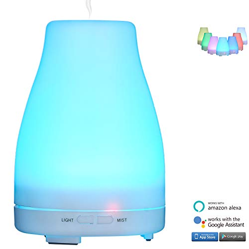 Price comparison product image WiFi Smart Aroma Diffuser Aromatherapy Essential Oil Humidifier Compatible with Alexa,  Google Assistant and Phones App,  Ultrasonic Adjustable Mist Multi-Color LED Lights & Timing For Air Purifying