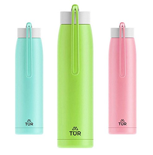 TUR Hydration Colorful Stainless Steel Double Wall Vacuum Insulated Water Bottle - 12oz - Leak Proof - Eco-Friendly & BPA Free - Perfect For Kids, Gym, School, Office - Keeps Hot or Cold (Lime Green)